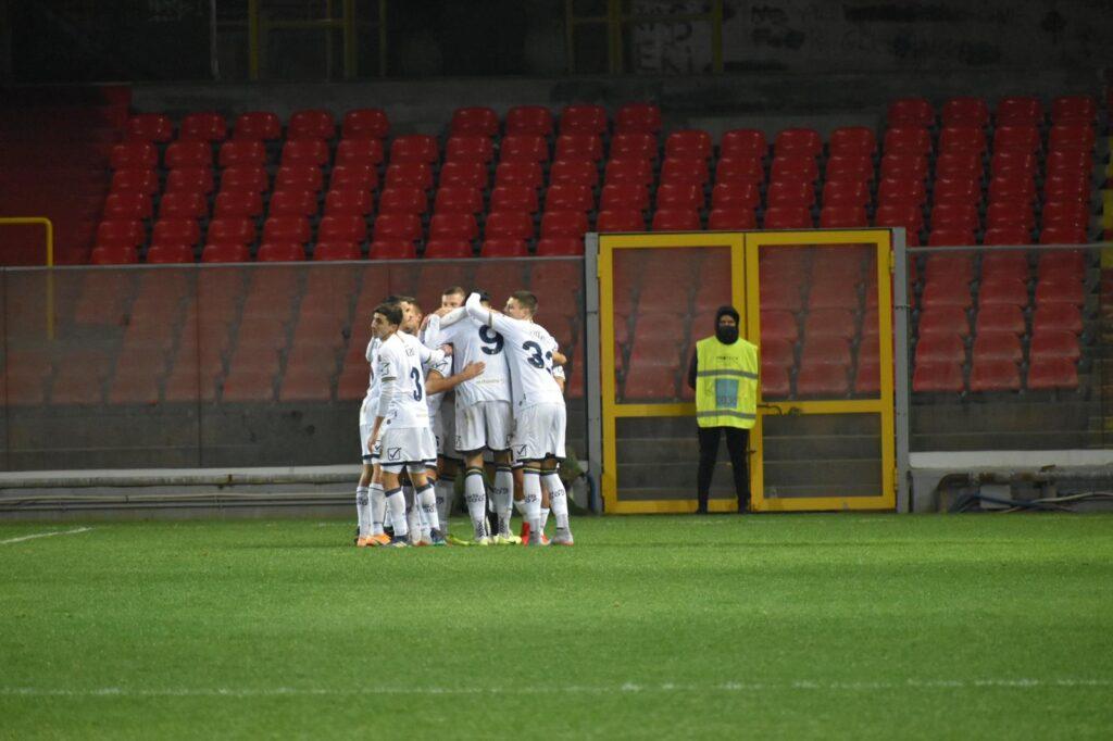 L'esultanza dei calciatori della Juve Stabia
