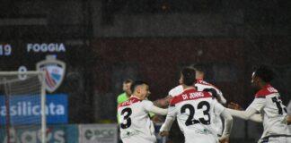 L'esultanza dei rossoneri dopo il gol di Del Prete